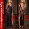 Женское бельё черного Backless длиннего платья женщин сексуальное