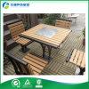 Tabla y sillas de madera al aire libre cuadradas con el acero inoxidable #304 del surtidor al aire libre de madera de los muebles (FY-051HB)
