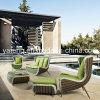 UV impermeável de encontro a sofá ajustado do jardim do sofá do Rattan ajustado com tamborete