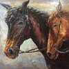 Pellete Knifeの重油によって塗られるキャンバスの二重馬ヘッド油絵
