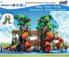 Cour de jeu verte d'enfants de château d'arbre avec la glissière Curvy Hf-10902