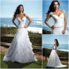 Vestidos de casamento ocasionais 2012 da praia do ombro frisado da V-Garganta