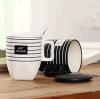 Tazza di caffè di ceramica calda di nuova tecnologia di vendita 2016 con la decalcomania delle bande, tazza di natale