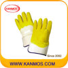 Handschoen van het Werk van het Manchet Carvin van de Bedrijfsveiligheid de Gele Latex Met een laag bedekte (52002)