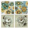 Flor de la pared flor impresa lienzo flor mano pintura al óleo sobre lienzo