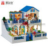 빛을%s 가진 소형 큰 건물 나무로 되는 인형의 집 DIY 장난감