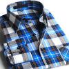 人のフランネルの格子縞の細い適合の長い袖のワイシャツ