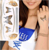 Metálico pluma de la cadena de la mariposa impermeable de la etiqueta engomada del tatuaje temporal