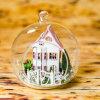 Dollhouse de madeira de vidro diminuto da esfera DIY com luz