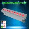 Rádio da iluminação do estágio do diodo emissor de luz da bateria da arruela 9PCS Rgabwuv 6in1 da parede
