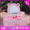 新しいデザイン美しいピンクの女の子の木のおもちゃの化粧台W08h077