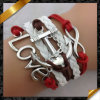 Infinità Bracelet, Wholesale 2013 Handmade Friendship Leather Bracelet con Beads per Men (FB044)