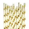 Pajas de beber de papel del nuevo del diseño de la hoja del oro de polca partido del PUNTO