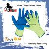 перчатка безопасности Crinkle латекса ладони хлопка 10g Coated