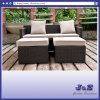 屋外のテラスの藤の家具のソファーセット、庭の柳細工のソファー及び足台(J382-B)