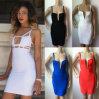 Сексуальный белый черный Hl знаменитости платья повязки прибытия 2015 планок спагеттиа новый одевает платья партии Bodycon женщин (WES002)