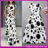 As senhoras Maxi brancas e pretas do cetim novo da celebridade do desenhador do vestido imprimiram o vestido de noite 2015 (H00-F490)