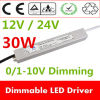 CE impermeável RoHS Approved do diodo emissor de luz Transformer 110V 220V do diodo emissor de luz Driver Dimmable Power Supply de IP67 30W 12V 24V Constant Voltage 1/0-10V Dimming