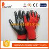 Nitriles noirs en nylon rouges de Shell enduisant les gants fonctionnants de finition lisse (DNN348)