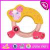 Giocattolo di legno di Squeaker di crepitio del bambino non tossico 2015, giocattolo caldo di crepitio del bambino dell'anello della Bell di scossa della mano di vendita, giocattolo bello W07I121 di crepitio del bambino