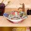 Bacia de lavagem cerâmica da arte decorativa chinesa colorida