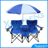 Beach Picnic Campingの庭の上の二重Folding Chair Umbrella Table Cooler Fold