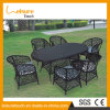 Vector popular y rota al aire libre de mimbre impermeables de la silla que cena los muebles