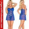 Sexy più il merletto di formato e l'insieme blu della biancheria della bamboletta della maglia