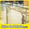 Escalera de interior del acero inoxidable que cerca la barandilla del vidrio con barandilla Tempered
