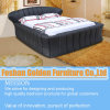 سرير أثاث لازم أسود جلد غرفة نوم مجموعة