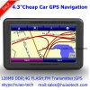Cheap Factory Sale 4.3 Car Portablet Satnavi GPS Navigator Built-in 128MB RAM 8GB Flash Support Bluetooth, ISDB-T; AV-in pour caméra de stationnement arrière; Navigation GPS