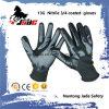 перчатка черного нитрила 13G 3/4 ровная Coated