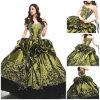 2012 querido bonito magnífico A - a linha plissado do revestimento da bainha perlou o vestido Appliqued de Quinceanera do tafetá (QD-049)