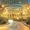 休日の装飾をつけるクリスマスの照明の通りの装飾