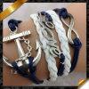 Pulsera del cuero de la pulsera de la cuerda de la cera de la pulsera de la vendimia, joyería de cuero de la pulsera de la PU (FB045)