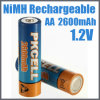 batería recargable AA 2600mAh de 1.2V Ni-MH