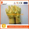 Перчатки Dcn323 безопасности перчатки нитрила хлопково-желтого польностью Coated