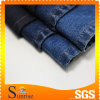 Azzurro e Black Color Cotton Spandex Slub Denim Fabric