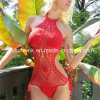 Roter Handhäkelarbeit Monokini Badeanzug-einteiliger Badebekleidungbeachwear-Bikini