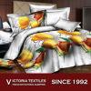 De oranje Bloemen Afgedrukte Bladen van het Bed plaatst Volledige Bed Gepaste 3D Reeksen
