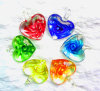 Teste padrão de flor colorido dentro dos pendentes de vidro da forma do coração (PENH0022)