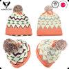 Chapéu Multicolor à moda do Knit do jacquard da geometria 2016 com Pompom