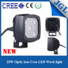Truck/UTV/ATV/Tractor/Forklift를 위한 25W Square White Spot Beam LED Work Light
