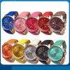 Neue Form ringsum 2 die Zonen-Dame-preiswerte lederne Uhr