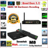 Based Android Quad Core 3D 4k TV Box Zoomtak M8 con 2GB RAM Xbmc Pre-Installed 13.2 Android Media Player