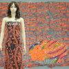 ткань вышивки Sequins цветов 3mm различная на скачками сетке картины