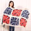 Nouveaux automne et hiver en Europe et Amérique le mot britannique Lunmi de drapeau a mercerisé les écharpes frangées par coton