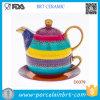 Tazza e piattino di ceramica del POT del tè dell'insieme delle strisce dipinte a mano