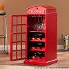 Module en bois de forme créatrice de cabine téléphonique pour l'étalage de vin