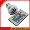E27 1X3W 7 colore l'ampoule 110~240V (BS-E27-001) de RVB LED